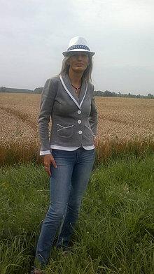 Kabáty - Dámske športové sako - tmavošedá/biela (R004) - 4242939_