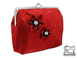 Kabelky - Čipková kabelka červena , taštička   0650 - 4245040_