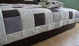Úžitkový textil - prehoz na posteľ patchwork deka 140x200 alebo 220x220 smotanovo - bežovo čokoládová - 4245668_