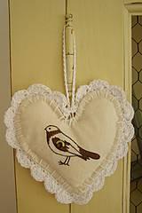 Srdce na zavesenie - vtáčik
