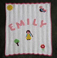 Textil - Háčkovaná deka s menom - 4251459_