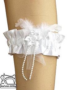 Bielizeň/Plavky - Biely podväzok pre nevestu 0065I - 4256388_