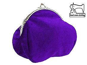 Kabelky - Zamatová kabelka fialová , taštička 0555 - 4256855_