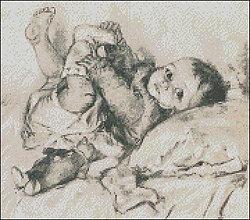 Návody a literatúra - Dieťatko s macíkom - predloha na vyšívanie - 4258762_