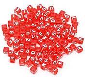 Červené korálky abeceda kocky (balíček 500ks)