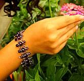 Sady šperkov - Fialový náramok z ohňoviek s náušnicami - 4262608_