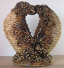Dekorácie - Pletená váza Srdce - 4272766_