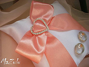 Prstene - svadobný vankúšik biela & meruňka - 4273431_