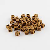 Korálky - Plastové korálky 100ks 6x6x6mm otvor 3mm kocky imitácia dreva - 4276900_