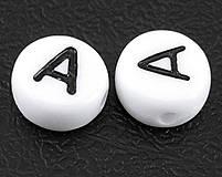 Korálky - Plastové korálky písmeno ,,A´´ 1ks 7x4mm otvor: 1mm biele - 4276928_