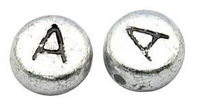 Korálky - Plastové korálky písmeno ,,A´´ 1ks 7x3,5mm otvor: 1mm strieborné - 4276936_
