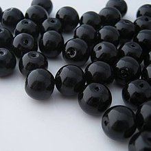 Korálky - Čierne sklenené korálky voskované 10mm (balíček 50ks) - 4275271_