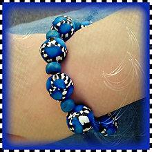 Náramky - Abstraktný modrý náramok - 4275667_