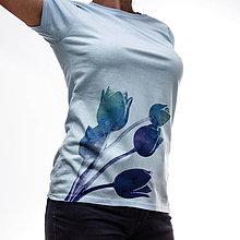 Tričká - modré TULIPÁNKY - 4281412_
