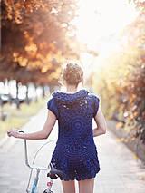 Svetre/Pulóvre - Modrý svetrík s balonkovým rukávkem - 4285874_