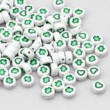 Korálky so zelenými srdiečkami/krížikmi (balíček 10ks)