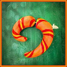 Náušnice - Fake rozťahovák - oranžový pruhovaný - 4283135_