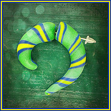 Náušnice - Fake rozťahovák - zelený pruhovaný - 4283834_