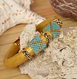 Náramky - Kožený zlatý exclusive - 4284255_