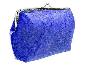 Kabelky - zľava dámská kabelka modrá zamatová 04704A - 4288467_