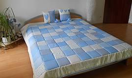 Úžitkový textil - patchwork deka 140x200 alebo 220x220 smotanovo - modrá - 4287645_