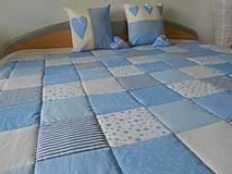 Úžitkový textil - patchwork deka 140x200 alebo 220x220 smotanovo - modrá - 4287647_