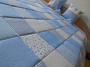 Úžitkový textil - patchwork deka 140x200 alebo 220x220 smotanovo - modrá - 4287641_