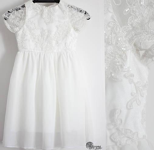 Detské šaty z tylovej krajky s korálkami