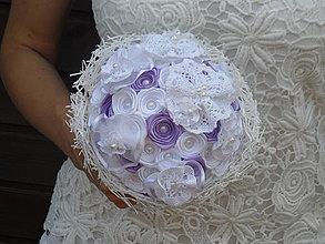 Kytice pre nevestu - Vintage v bielo-fialovej - 4287019_