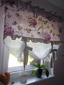 Úžitkový textil - Ľanová záclonka Poesie - 4288595_