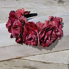 Ozdoby do vlasov - Parta z ruží v bordó - 4291132_