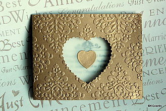 Papiernictvo - Svadobné oznámenie - zlaté so srdcom alt.2 - 4292856_