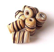 Korálky - Vinutka Wooden striato tubes - 4293009_
