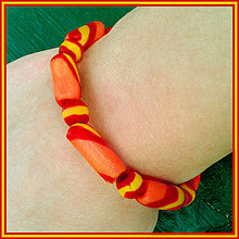 Náramky - Tenký pruhovaný náramok - oranžový - 4290721_