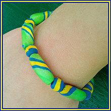 Náramky - Tenký pruhovaný náramok - zelený - 4290722_