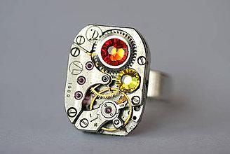 Prstene - Steampunkový prsteň a Swarovski - 4295398_