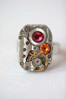 Prstene - Steampunkový prsteň a Swarovski - 4295439_