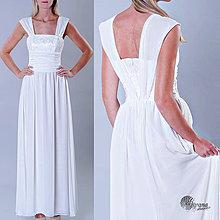 Šaty - Svadobné šaty s krajkovým korzetom a zbieraným pásom Zľava 20% - 4297359_