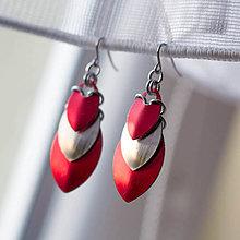 Náušnice - Krovky - náušnice (červeno - stříbrné) - 4303265_