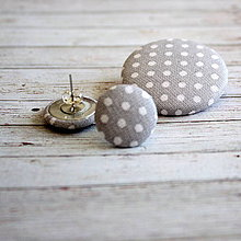 Sady šperkov - Náušnice zapichovačky a brošňa Sivý bodkáčik - 4306490_