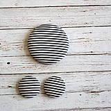 Náušnice zapichovačky a brošňa Čiernobiely prúžok