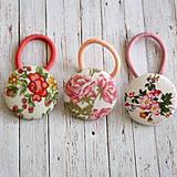 - Gumičky do vlasov s buttonkami Vintage kvety - 4308849_