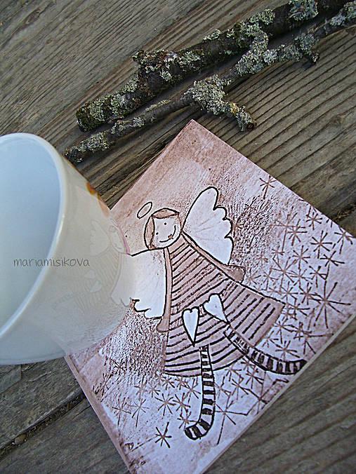 Podšálky - podložky pod pohár - vintage anjelik