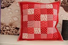 - patchwork obliečka červeno-biela 40x40 cm - 4320135_