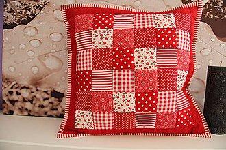 Úžitkový textil - patchwork obliečka červeno-biela 40x40 cm - 4320135_