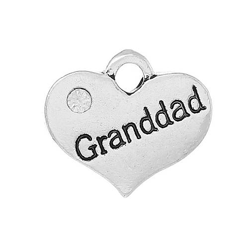Prívesok srdiečko so štrasovým kamienkom s nápisom GRANDAD (dedko)