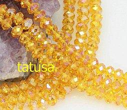Korálky - Korálky - sklenené brúsené 6x8mm lesklé AB citrine - 4328208_