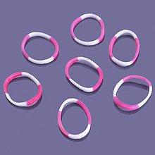 Iný materiál - G17923 gumičky LOOM BANDS ružovo-biele, 100 ks - 4336806_