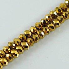 Korálky - Brúsené sklenené korálky zlaté 8x6mm - 4339603_