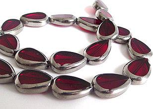 Korálky - Sklenená korálka Leaves cherry - 4345361_